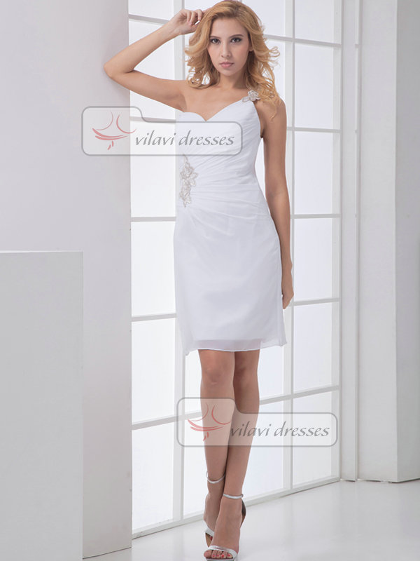 Column One Shoulder Short Chiffon Appliques Side-draped Prom Dresses