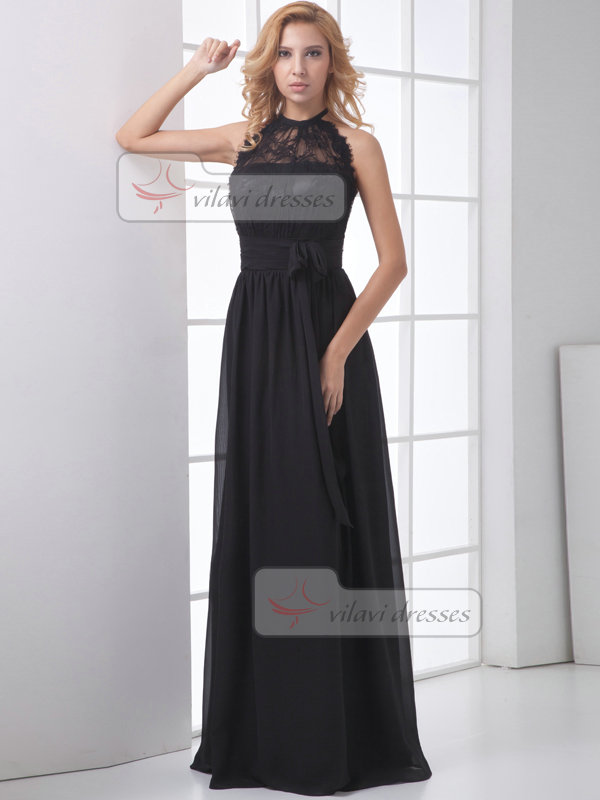 Column Round Brought Halter Sweep Chiffon Bowknot Lace Evening Dresses