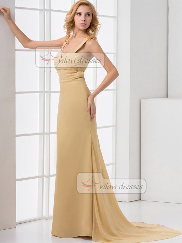 Over Hip Straps Brush Train Chiffon Evening Dresses