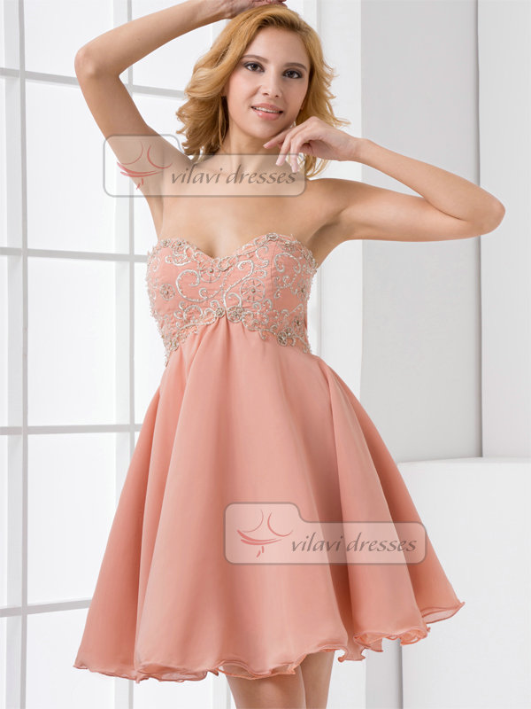 A-line Sweetheart Short Chiffon Crystal Beading Homecoming Dresses