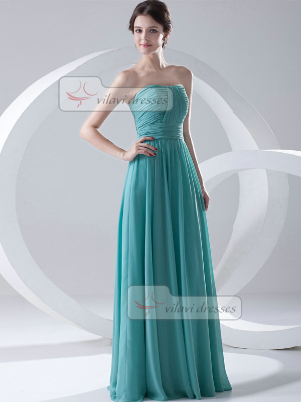 A-line Sweetheart Strapless Floor-length Chiffon Draped Evening Dresses