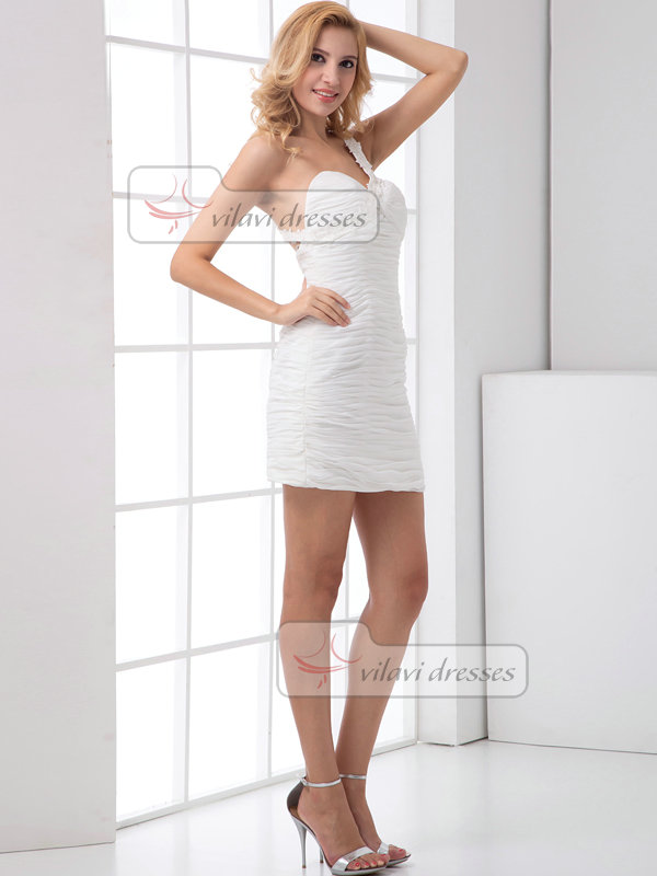 Column One Shoulder Short Chiffon Beading Tiered Cocktail Dresses