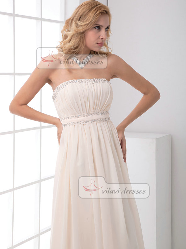 A-line Tube Top Brush Train Chiffon Crystal Sequin Draped Prom Dresses