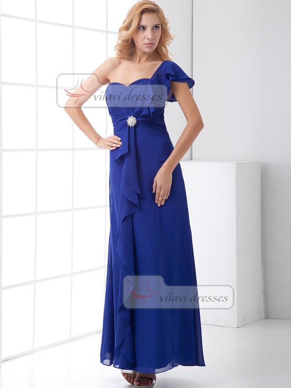 A-line One Shoulder Ankle-length Chiffon Lotus Leaf Sleeve Prom Dresses With Crystal