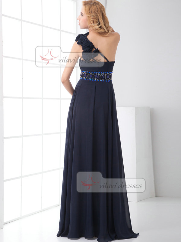 A-line One Shoulder Floor-length Chiffon Beading Flower Prom Dresses
