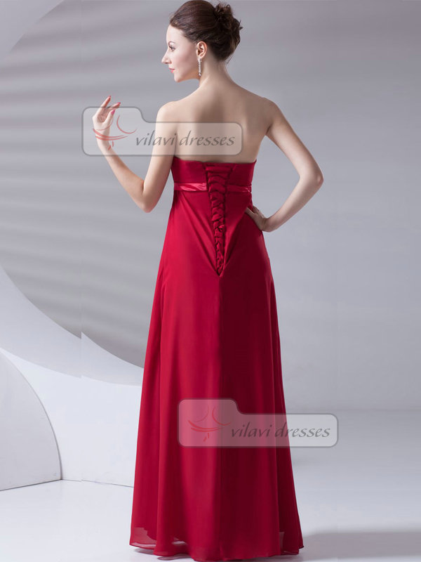 A-line Tube Top Strapless Floor-length Chiffon Draped Prom Dresses