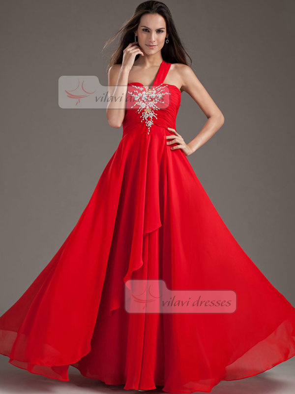 A-line One Shoulder Floor-length Chiffon Crystal Sequin Prom Dresses