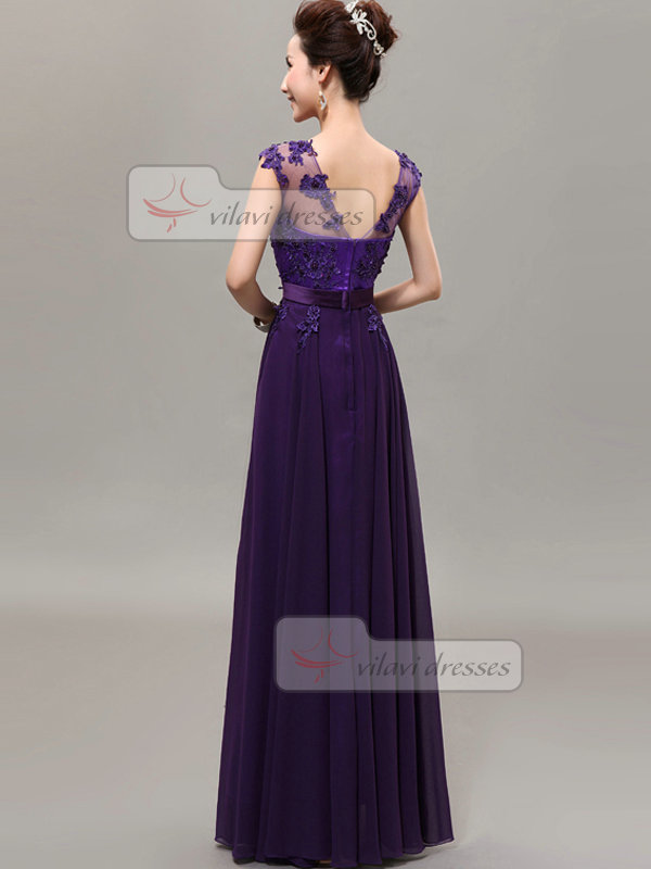 A-line Bateau Floor-length Chiffon Flower Prom Dresses With Semi Transparent