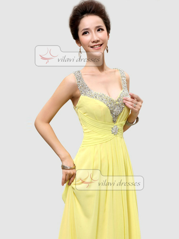 A-line Scoop Floor-length Chiffon Crystal Draped Prom Dresses With Semi Transparent
