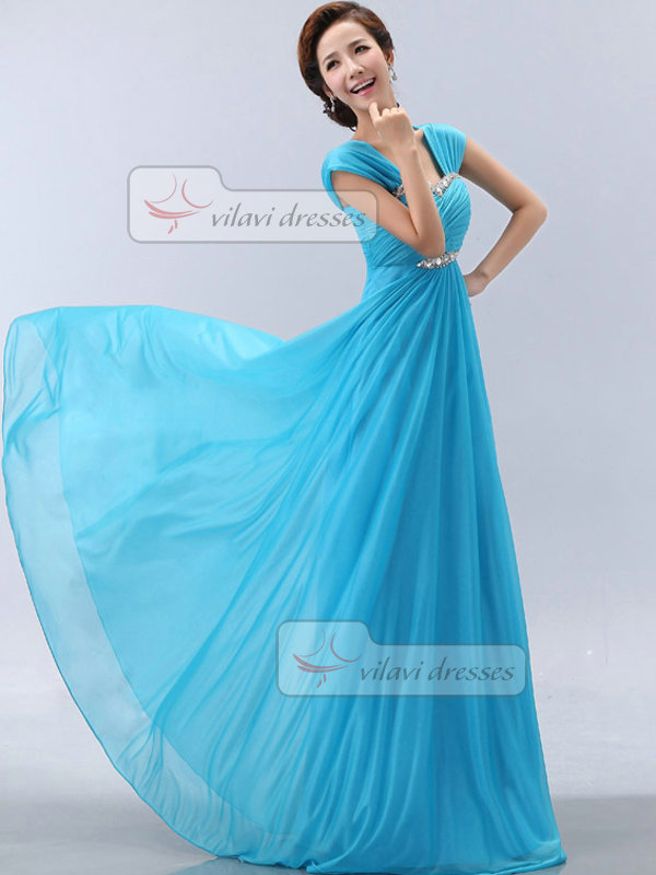A-line Straps Floor-length Chiffon Crystal Short Sleeve Prom Dresses