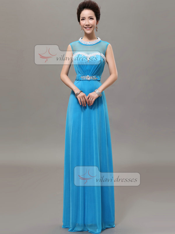 Column Round Brought Jewel Floor-length Chiffon Crystal Prom Dresses With Semi Transparent