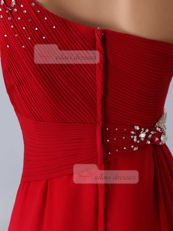 A-line One Shoulder Brush Train Chiffon Beading Crystal Prom Dresses