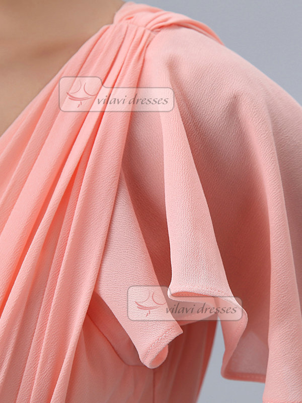 A-line V-neck Floor-length Chiffon Lotus Leaf Sleeve Prom Dresses With Crystal