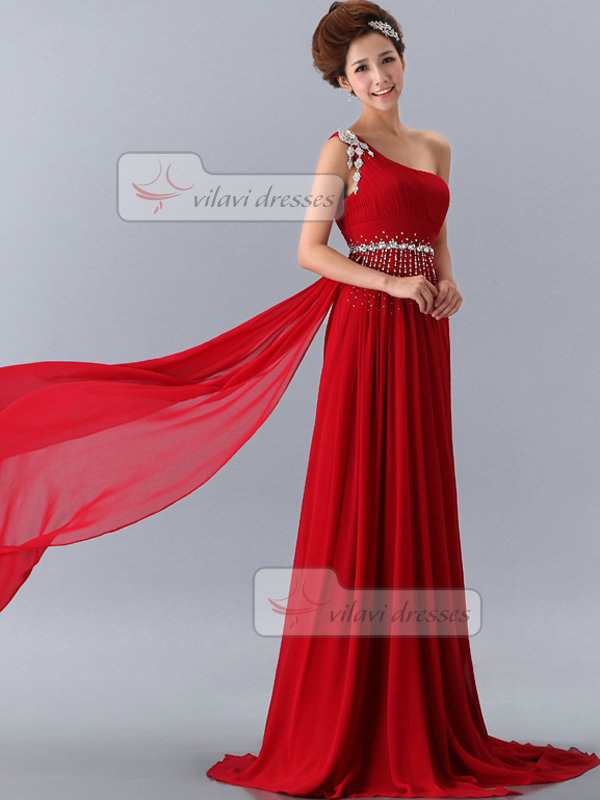A-line One Shoulder Sweep Chiffon Crystal Draped Sequin Prom Dresses
