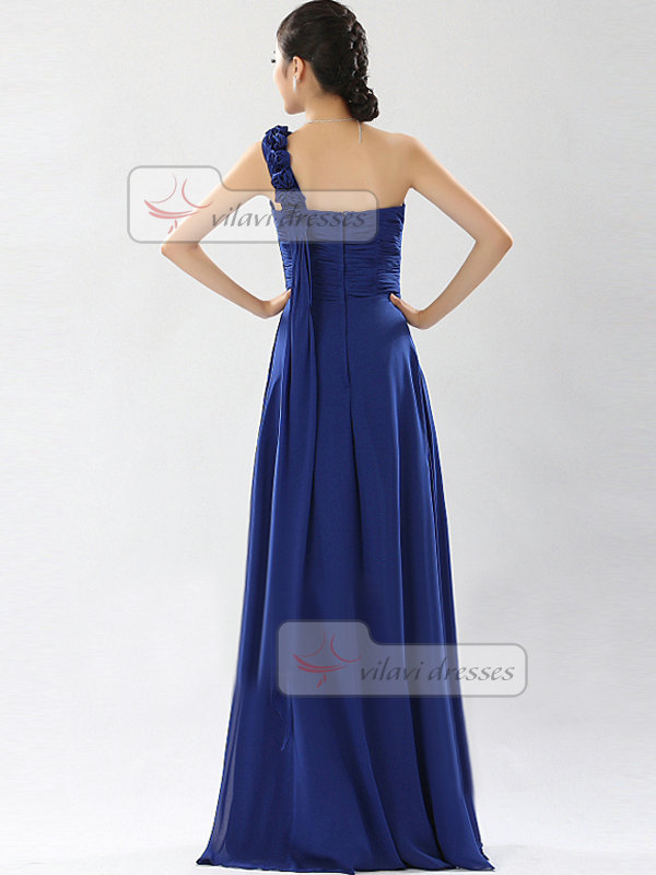 A-line One Shoulder Floor-length Chiffon Flower Draped Evening Dresses