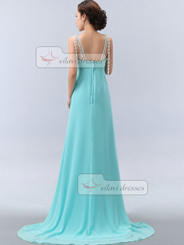 A-line V-neck Straps Brush Train Chiffon Crystal Beading Prom Dresses