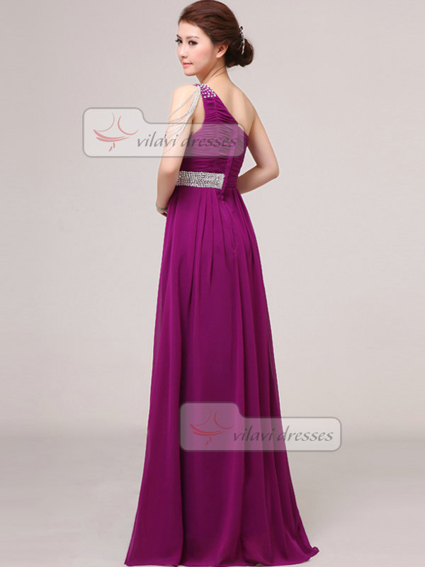 A-line One Shoulder Floor-length Chiffon Jewelry Sleeve Prom Dresses With Sequin