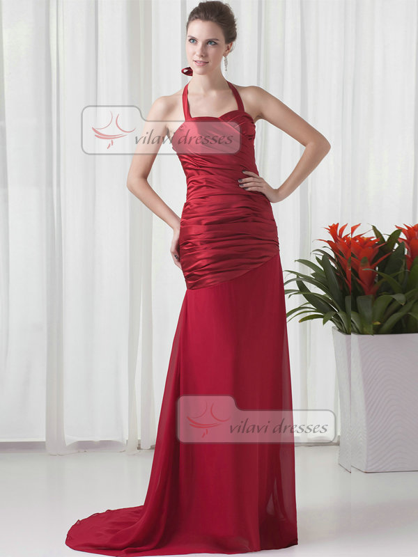 Mermaid Halter Brush Train Chiffon Tiered Evening Dresses