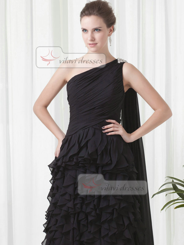 Column One Shoulder Brush Train Chiffon Tiered Ruffle Evening Dresses