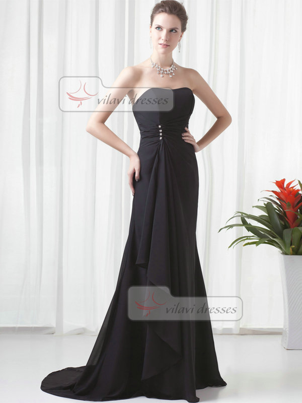 Mermaid Strapless Brush Train Chiffon Crystal Evening Dresses