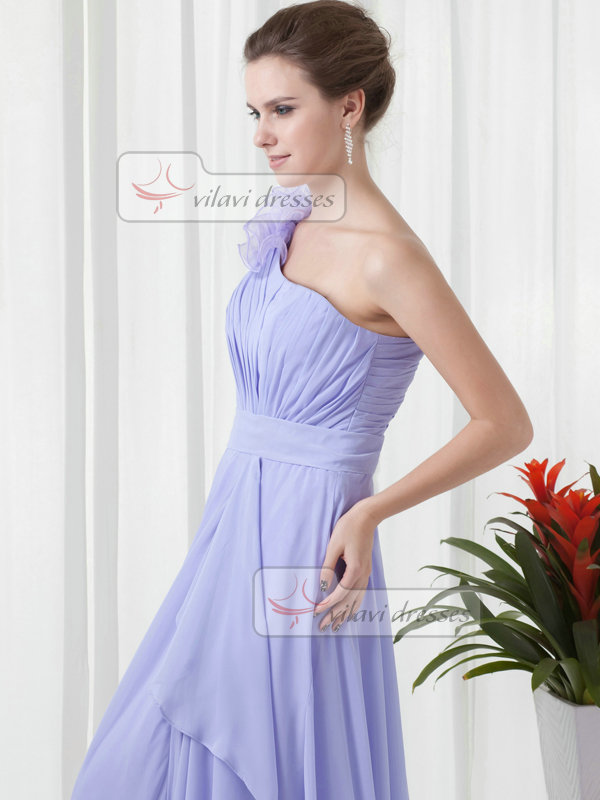 Column One Shoulder Floor-length Chiffon Draped Evening Dresses