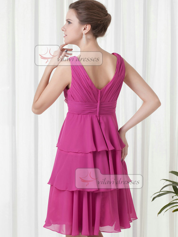 A-line V-neck Knee-length Chiffon Crystal Flower Cocktail Dresses