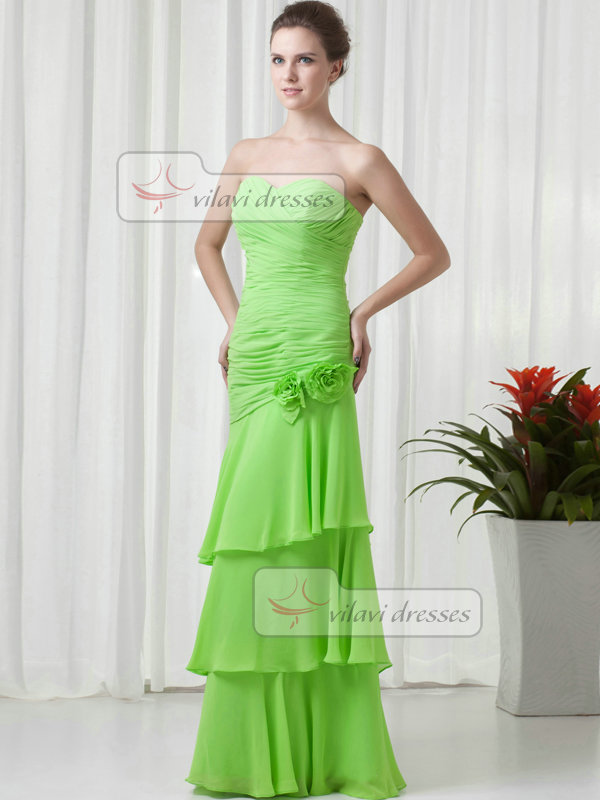 Over Hip Strapless Floor-length Chiffon Flower Tiered Evening Dresses