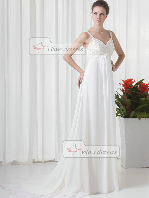 A-line Spaghetti Straps Brush Train Chiffon Beading Sequin Prom Dresses