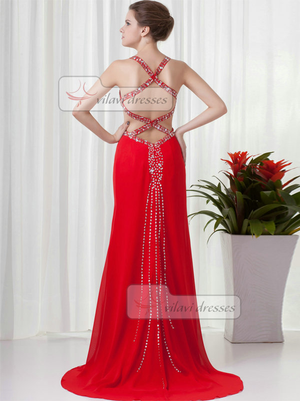 Over Hip Straps Brush Train Chiffon Crystal Sequin Prom Dresses