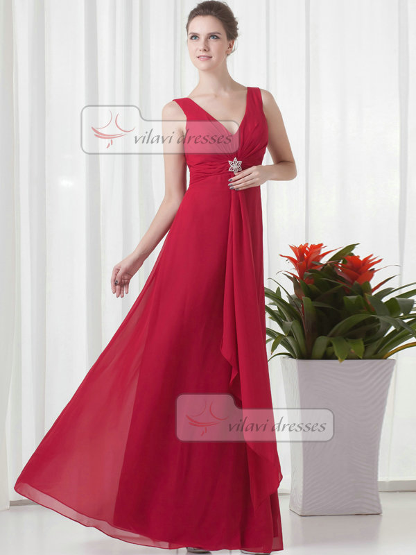 A-line V-neck Floor-length Chiffon Crystal Evening Dresses