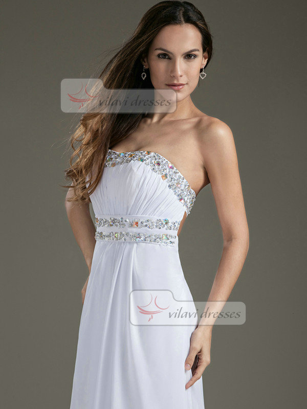 A-line Sweetheart Strapless Sweep Chiffon Sequin Crystal Prom Dresses