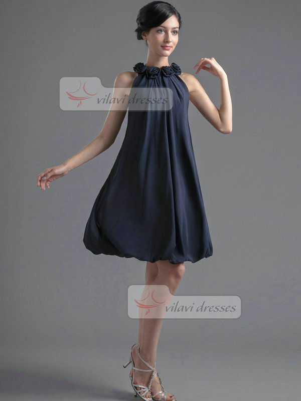 A-line Round Brought Knee-length Chiffon Flower Prom Dresses