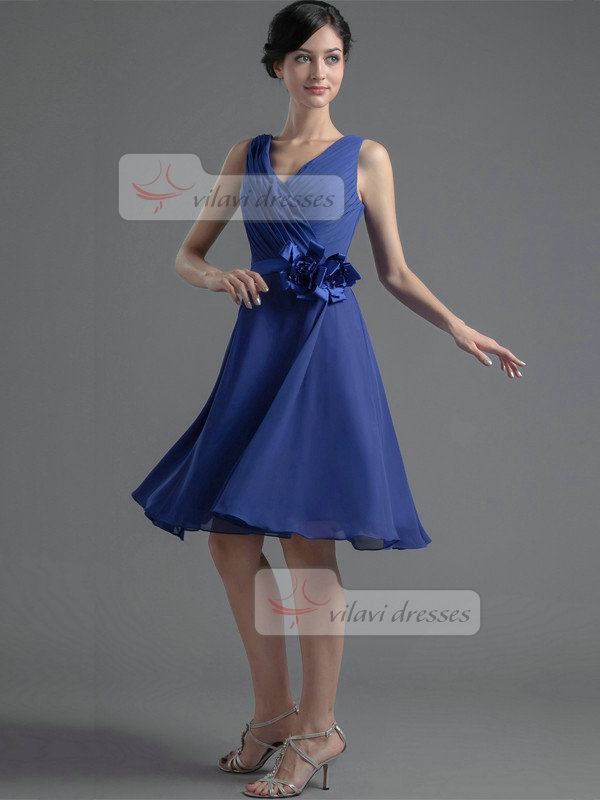 A-line V-neck Straps Knee-length Chiffon Flower Prom Dresses