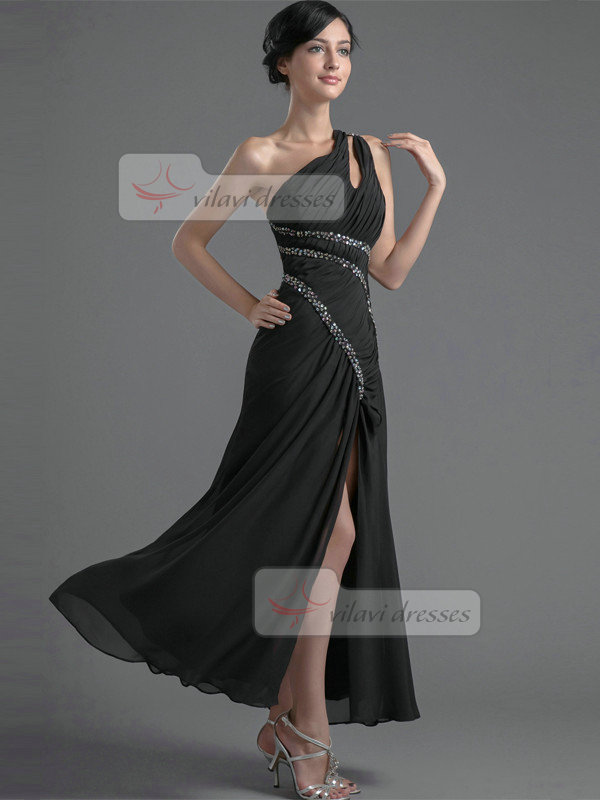 A-line One Shoulder Ankle-length Chiffon Split Front Prom Dresses With Sequin