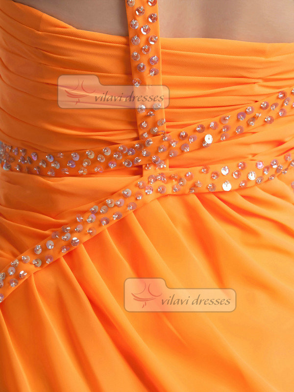 A-line One Shoulder Ankle-length Chiffon Split Front Prom Dresses