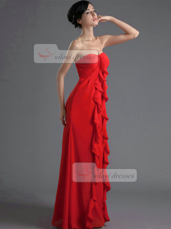 Column Sweetheart Floor-length Chiffon Tiered Ruffles Prom Dresses