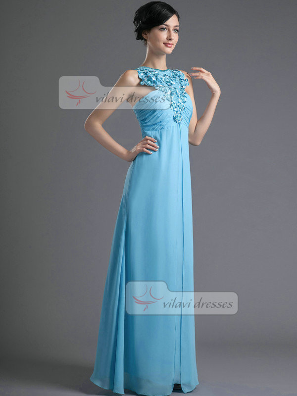 A-line Bateau Floor-length Chiffon Embroidery Tiered Prom Dresses