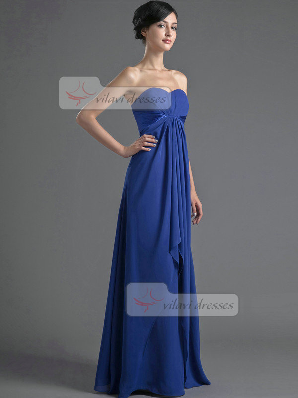 A-line Sweetheart Strapless Floor-length Chiffon Evening Dresses