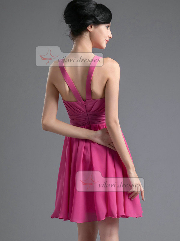 A-line Square Straps Short Chiffon Draped Homecoming Dresses