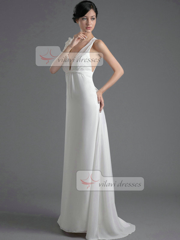 A-line V-neck Brush Train Chiffon Low-cut Flower Prom Dresses