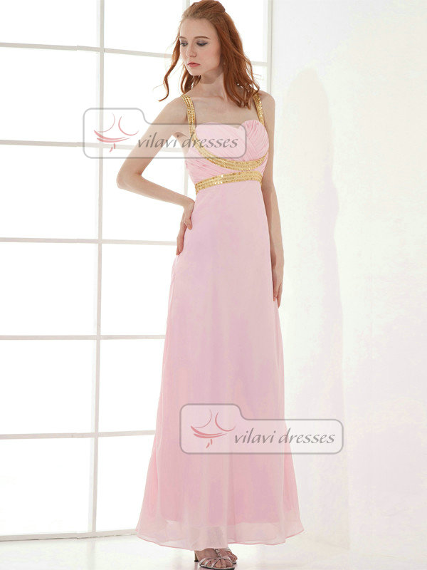 A-line Sweetheart Straps Ankle-length Chiffon Sequin Prom Dresses