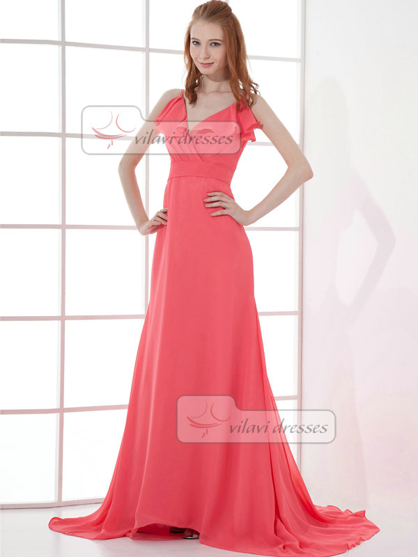 Over Hip Spaghetti Straps Brush Train Chiffon Evening Dresses
