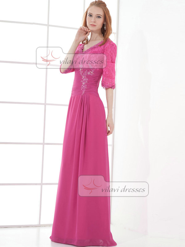 Column Scalloped-edge Floor-length Chiffon Half Sleeve Prom Dresses With Beading