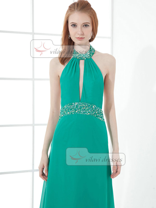 A-line Halter Floor-length Chiffon Beading Backless Crystal Prom Dresses