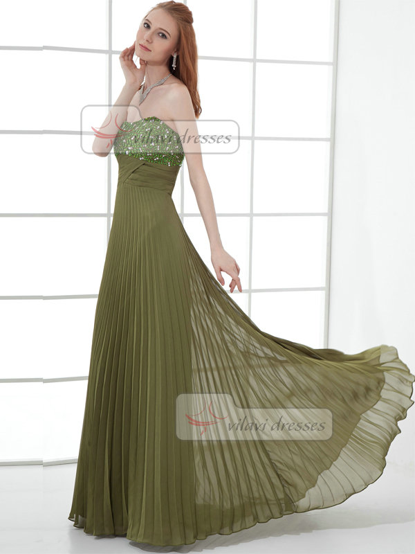 A-line Strapless Brush Train Chiffon Beading Crystal Prom Dresses