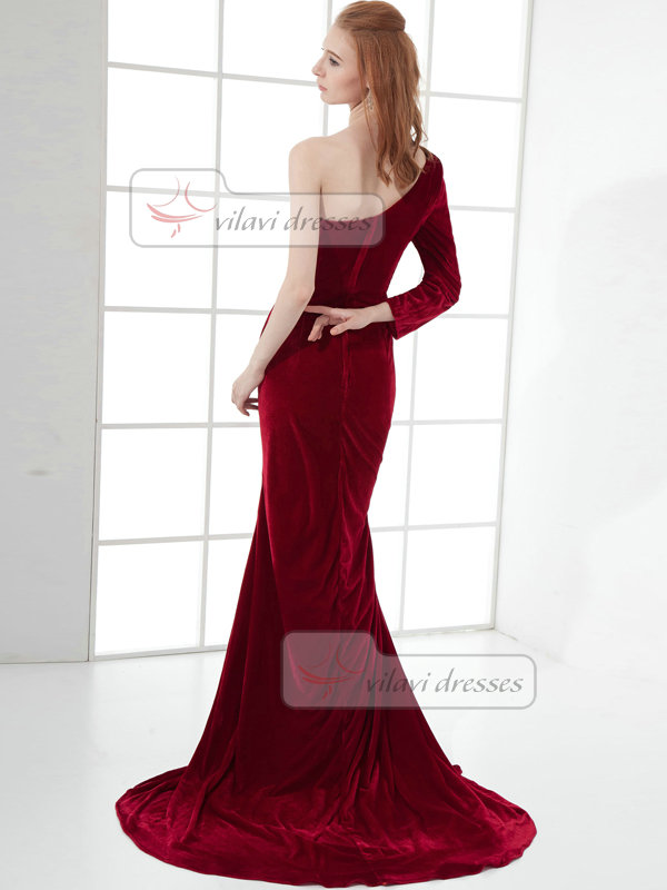 Mermaid One Shoulder Brush Train Chiffon Long Sleeve Prom Dresses