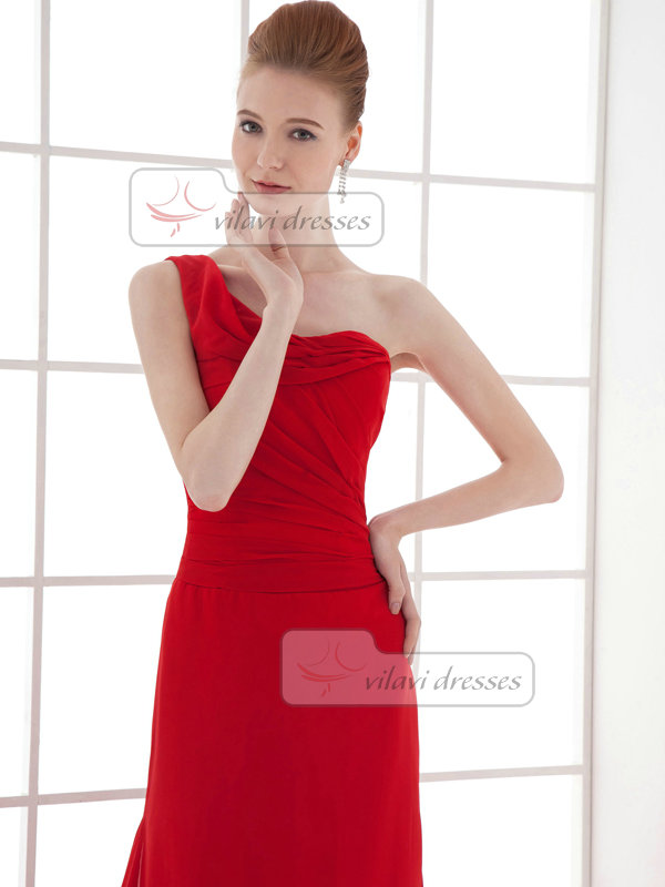 A-line One Shoulder Brush Train Chiffon Tiered Evening Dresses