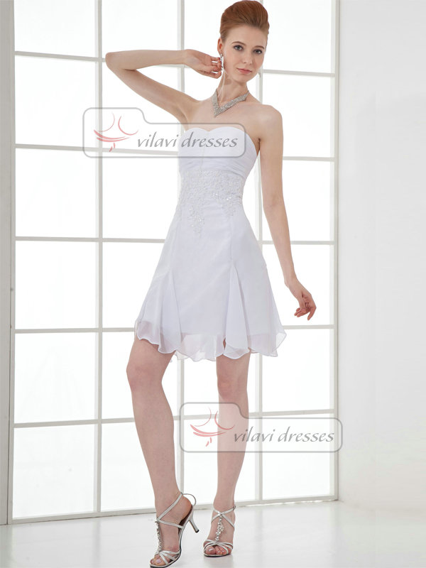 A-line Strapless Short Chiffon Beading Sequin Cocktail Dresses