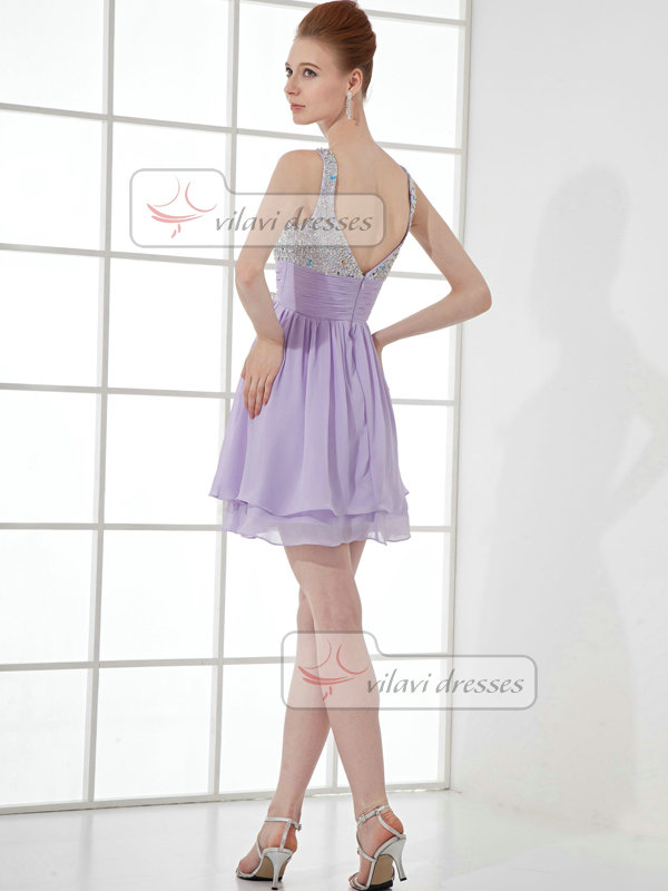 A-line Straps Short Chiffon Beading Sequin Cocktail Dresses