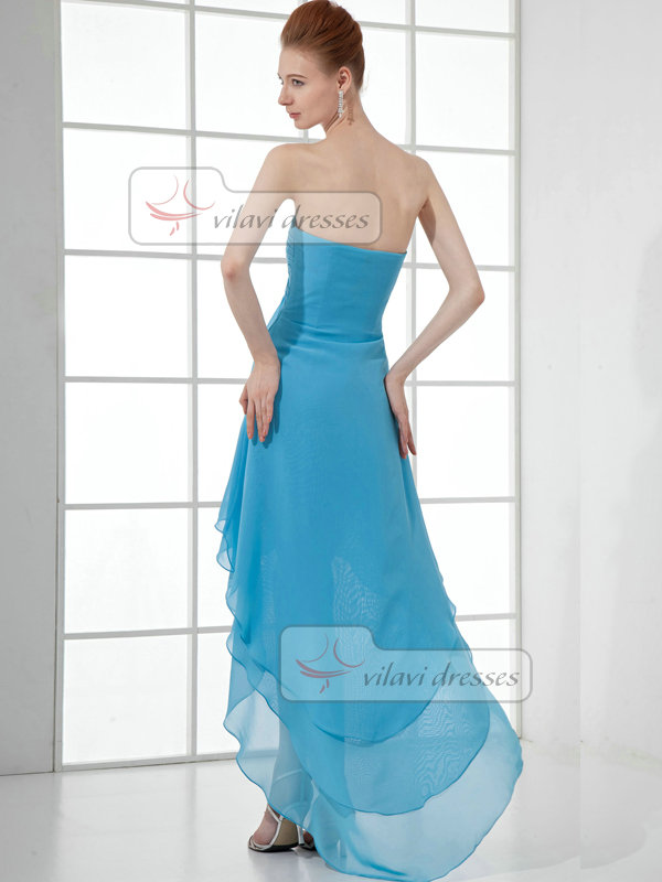 A-line Strapless Knee-length Chiffon High Low Beading Prom Dresses